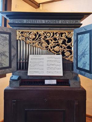 Orgelpositiv, Thüringen um 1650, im Instrumentensaal des alten Gebäudes