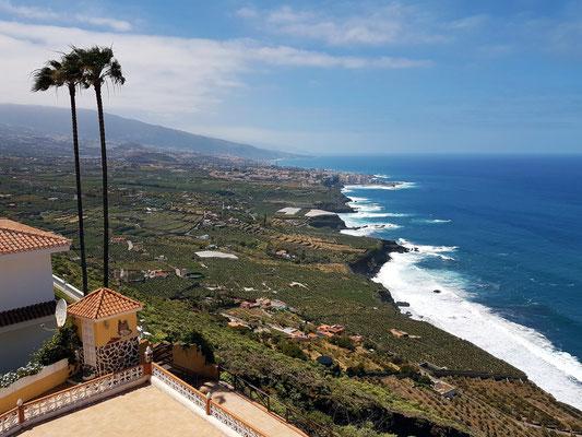 Café Vista Paraíso, Blick vom Café ins Orotava-Tal und nach Puerto de la Cruz