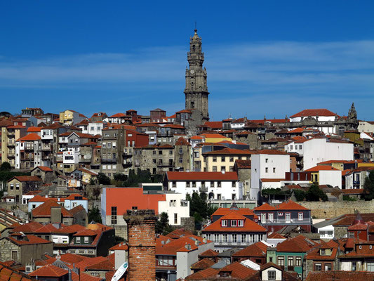 Häusermeer der Altstadt von Porto mit dem Torre dos Clérigos, dem 76 m hohen Glockenturm der Clérigos-Kirche, höchster Kirchenturm Portugals (1754-63)