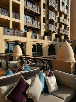 Hotel Mina A'Salam, Blick von der Terrasse zu den Hotelzimmern
