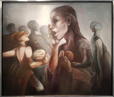 Heidrun Hegewald *1936: Kassandra sieht ein Schlangenei, Acryl auf Leinwand, 1981 (Bestand Kunstarchiv Beeskow)