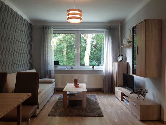 """Neetzow, Renovierte Ferienwohnung """"Am Schlosspark"""" in einem ehemaligen DDR-Mietshaus, Wohnzimmer"""