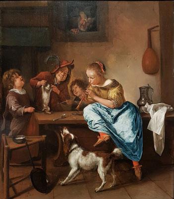 Jan Steen: Die Tanzstunde (Kinder, die eine Katze lehren zu tanzen), 1660-79