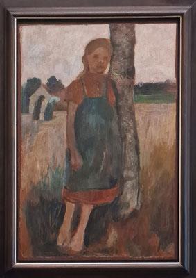 Paula Modersohn-Becker (1876-1907): Mädchen an Birkenstamm gelehnt vor Landschaft, um 1902, Öl auf Papier auf Leinwand