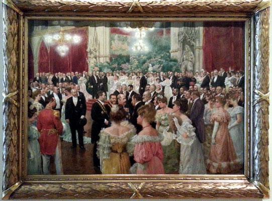 Wilhelm Gause (1853-1916): Ball der Stadt Wien, Öl auf Karton, 1904. Im Vordergrund links Bürgermeister Karl Lueger (mit Bürgermeisterkette).
