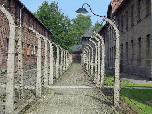 KZ Auschwitz I (Stammlager). Gesicherter Laufgang zwischen den Lagerblocks