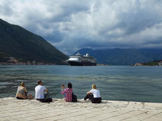 """Bucht von Kotor mit dem Kreuzfahrtschiff """"Veendam"""""""