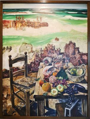 Walter Womacka: Am Strand, Öl auf Hartfaser, 1981