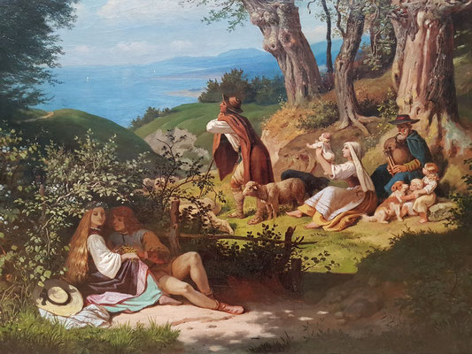 Ludwig Richter (1803-1884): Im Juni (Junilandschaft mit Regenbogen), 1859, Öl auf Leinwand (Ausschnitt)