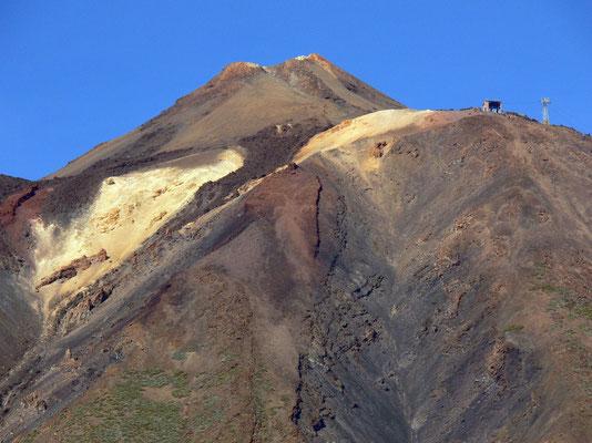 Pitón, Gipfel des Pico de Teide, der sich 200 m über der Rambletta erhebt