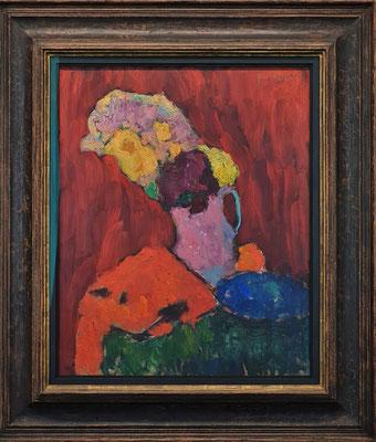 Alexej von Jawlensky (1864-1941): Rotes Stillleben mit violettem Krug, 1910, Öl auf Malkarton