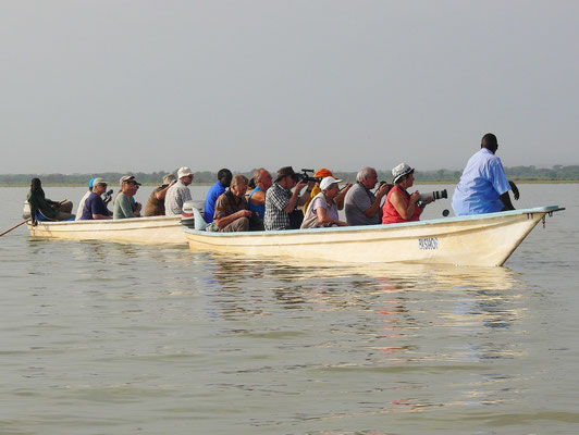 In drei Booten geht es auf den Baringosee zur Tierbeobachtung.