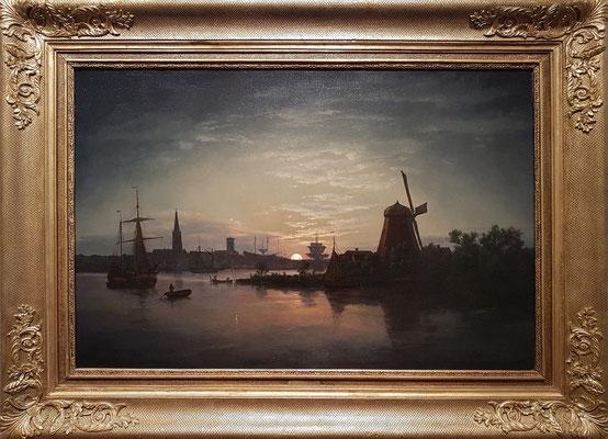 Johan Christian Dahl (1788-1857): Swinemünde bei Mondschein, 1840, Öl auf Leinwand