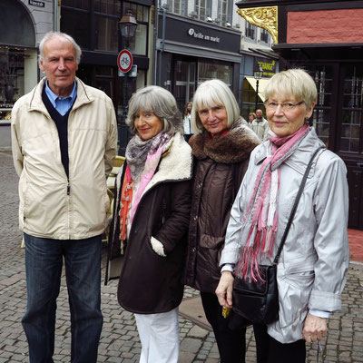 """Klaus Holenz und die """"Dirksen Sisters"""" (Almut Rother, Brigitte Holenz, Helga Röher) zu Besuch in Aachen am 28.4.2013"""