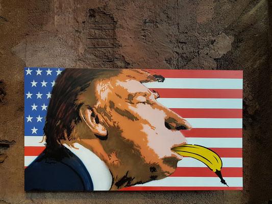 "Thomas Baumgärtel (alias ""Bananensprayer""): USAPE, Acryl und Sprühlack auf Leinwand, 2017 (UrbanArt Biennale 2017)"