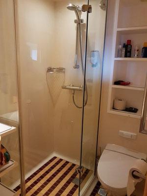 Dusche und WC (Vakuumtoilette)