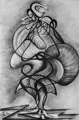 """""""Flamenco-Tanz"""", Kohle auf Leinwand, 1994, 120 x 80 cm (Ausschnitt)"""