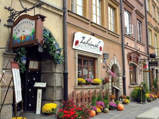 Rynek Starego Miasta, Restaurants auf der NO-Seite des Marktplatzes