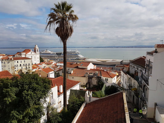Blick vom Miradouro de Santa Luzia auf die AIDAmar am Kreuzfahrt-Kai, mein Lieblingsaussichtspunkt in Lissabon