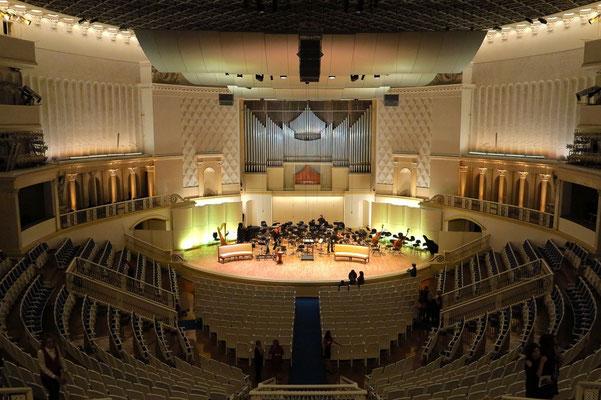 Tschaikowsky Concert Hall, Blick vom 3. Amphitheater, Reihe 1 (nach der Aufführung)