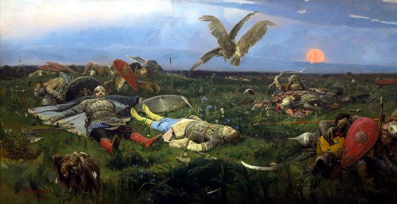 """Viktor M. Vasnetzov (1848 - 1926): """"Nach der Schlacht von Igor Svyatoslavovich mit den Kyptschaken"""", 1889"""
