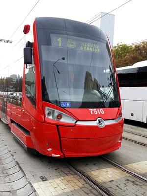 Moderne Straßenbahn der Firma Škoda