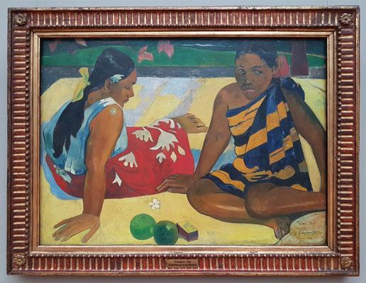 Paul Gauguin (1848-1903): Parau Api. Gibt's was Neues?, 1892, Öl auf Leinwand