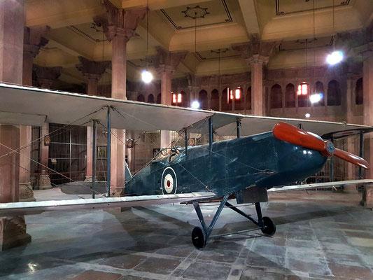 Das wie eine Reliquie ausgestellte Flugzeugwrack aus dem Ersten Weltkrieg