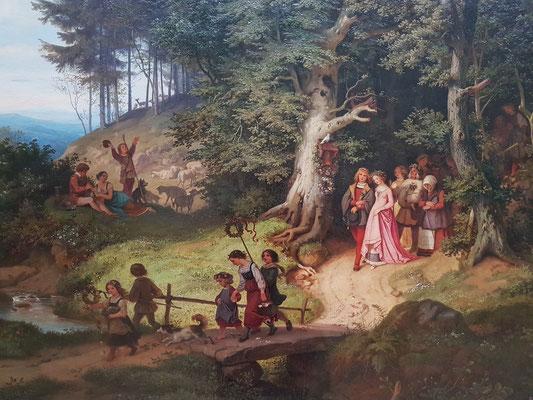 Ludwig Richter (1803-1884): Der Brautzug im Frühling, 1847, Öl auf Leinwand (Ausschnitt)