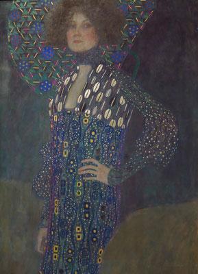 Gustav Klimt (1862-1918): Emilie Flöge, 1902, Öl auf Leinwand. Beginn der ornamentalen Abstraktion