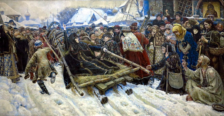 "Vasily I. Surikov (1848 - 1916): ""Boyarynya Morozova"", 1887 (depicting the defiant Feodosia Morozova during her arrest. Her two raised fingers refer to the dispute about the proper way to make the sign of the cross.)"