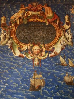 Groß dimensionierte topographische Fresken italienischer Städte und Inseln, die 1580–1583 von Antonio Panti entworfen und von Giorgio Vasari und Federico Zuccai ausgemalt wurden.