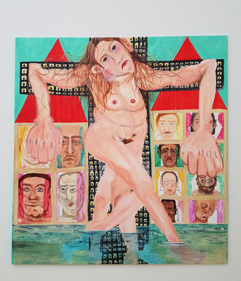 Jana Euler: Female Jesus crying in public, Öl auf Leinwand, 2015
