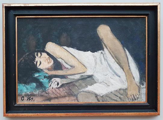 Otto Müller (1874-1930): Liegende in Weiß, um 1914, Leimfarbe auf Rupfen