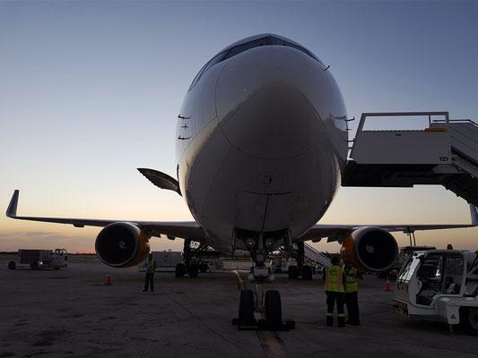 Unsere Condor Boeing 767-300 auf dem Flugfeld