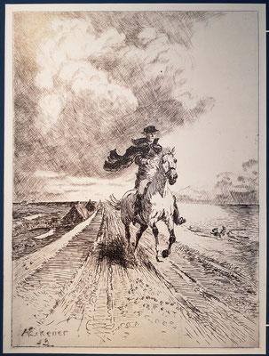"""Alex Eckener, Maler und Graphiker (1870-1944). Radierung zum """"Schimmelreiter"""" 1938"""