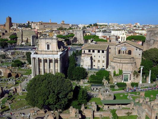 Blick vom Domus Tiberiana auf das Forum Romanum mit dem Tempel des Antoninus Pius und der Faustina und dem Tempel des Romulus
