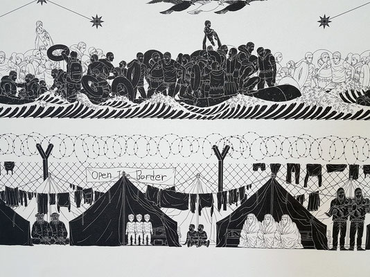 Ai Weiwei (geb. 1957): Odyssey, 2017, Wallpaper (Detail)