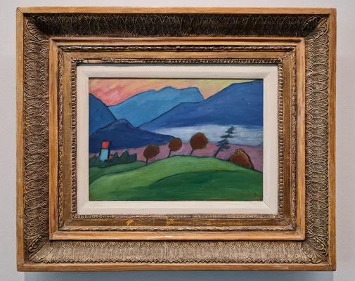 Gabriele Münter (1877-1962): Seelandschaft mit drei Kugelbäumen, um 1909, Öl auf Leinwand