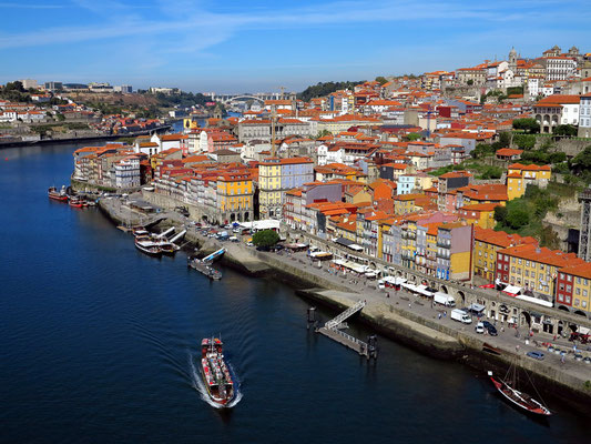 Blick von der Ponte Luís I auf die Altstadt von Porto