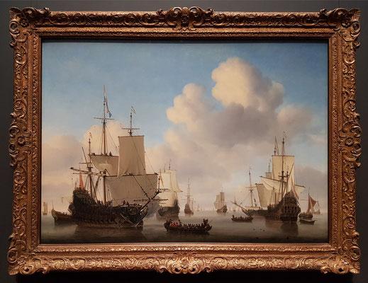 Willem van de Velde der Jüngere: Holländische Segelschiffe in einer Windstille, um 1665