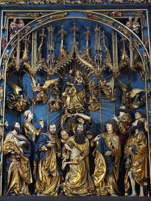 Tod Mariens, darüber Mariä Himmelfahrt, bei geöffneter Hauptseite des Schreins