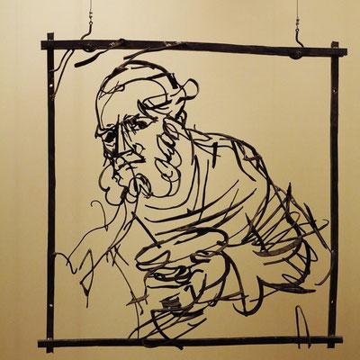"""Dmitry Gutov (geb. 1962): """"Alter Mann"""", Metall, geschweißt, 2015; nach Rembrandt van Rijn (1606 - 1669): Johannes der Täufer, predigend, ca. 1634/35"""
