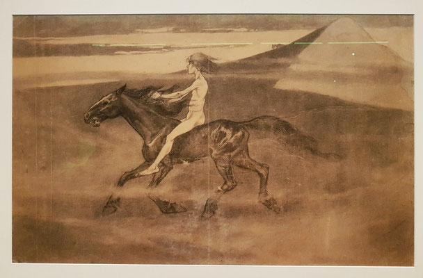 Heideritt, 1896. Kohle, Bleistift auf Zeichenpapier