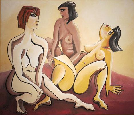 """""""Drei Grazien"""". Tempera auf Leinwand, 1992, 120 x 140 cm"""
