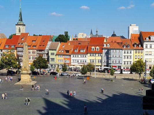 Blick vom Dom auf Domplatz mit Obelisk und Altstadt