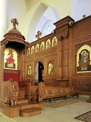 Koptisch Orthodoxe Kathedrale des Erzengels Michael, Ikonostase und Kanzel