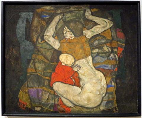 Egon Schiele (1890-1918): Junge Mutter, 1914, Mischtechnik auf Leinwand