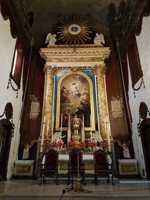 Iglesia Matriz de El Salvador, Bild am Hauptaltar: Verklärung Christi des sevillanischen Malers Antonio María Esquivel (19. Jahrhundert).