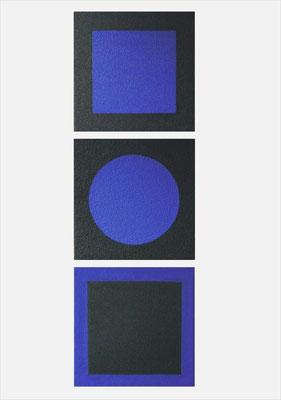 Magische Quadrate (Meditation in Blau), Acryl auf Holz, 50 x 160 cm, 2006
